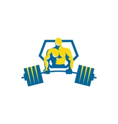 Weightlifter midlift shield retro vector
