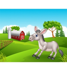 Cartoon funny donkey in the farm vector image
