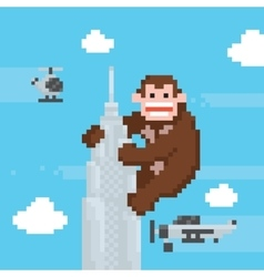 Gorilla on a top of skyscraper old school pixel vector