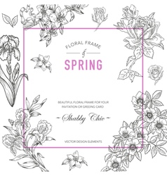 Floral Frame Invitation Card Wedding Card vector image