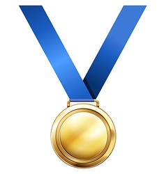 Gold medal with blue ribbon vector