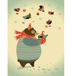 Bear and birds celebrate Christmas vector image vector image