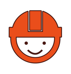 Builder head with helmet vector