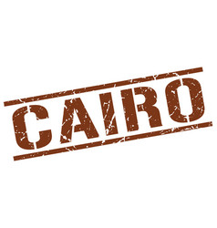 Cairo brown square stamp vector