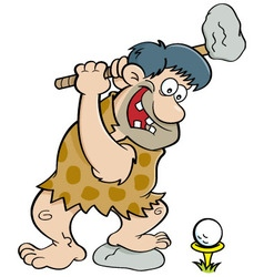 Cartoon caveman playing golf vector image