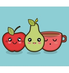 Character apple pear and cup graphic vector