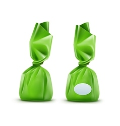 Chocolate candy in green wrapper on background vector