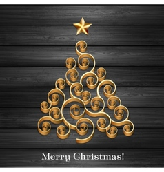 Christmas tree in wooden background vector