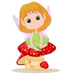 Cute fairy cartoon sitting on mushroom vector image vector image