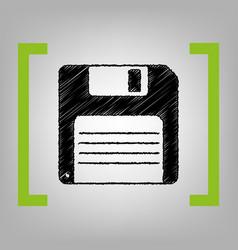 Floppy disk sign black scribble icon in vector