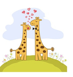 Funny giraffe couple in love vector image