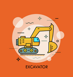 Hydraulic excavator or digger heavy equipment vector