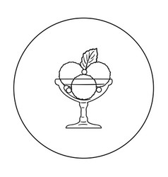 Ice cream in the glass bowl icon in outline style vector