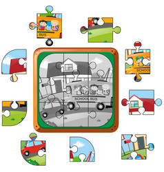 Jigsaw puzzle game with kids on school bus vector