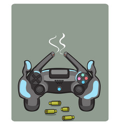 joystick games icon yellow vector image vector image