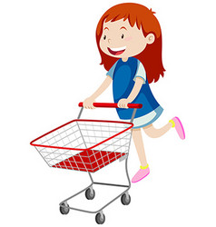 Little girl pushing shopping cart vector
