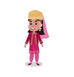little girl wearing traditional costume of turkey vector image