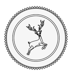 Monochrome contour circle with reindeer jumping vector