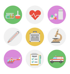 Nine color flat icon set - medical vector