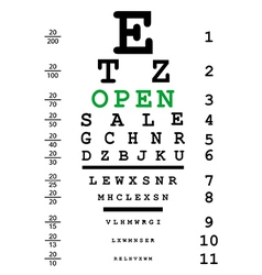 Optical eye test with open message vector image