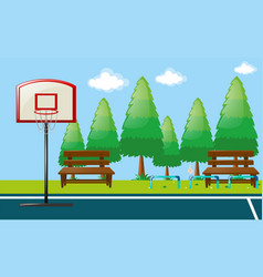 park scene with basketball court vector image vector image