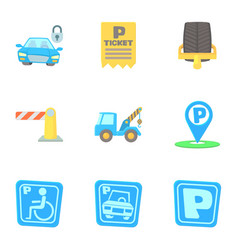 Parking transport icons set cartoon style vector