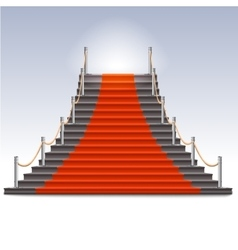 Realistic stone ladder with red carpet vector