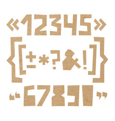 Rough numbers and symbols cut out of paper on vector