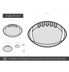 Rugby ball line icon vector