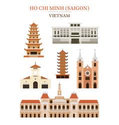 saigon vietnam landmarks architecture building vector image