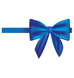 Satin blue ribbon and bow wrapping vector