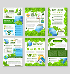 save energy poster template for ecology design vector image vector image