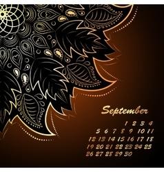 September mandala calendar vector image vector image