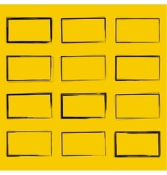 Set hand drawn rectangle vector image vector image