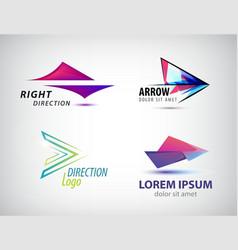 set of abstract arrow icon logos design vector image