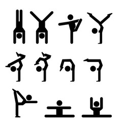 Set of gymnastics icon in silhouette vector