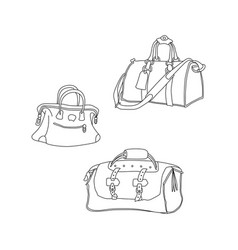 travel bags hand drawing sketch suitcases vector image