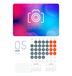 Wall calendar planner template for may 2018 vector