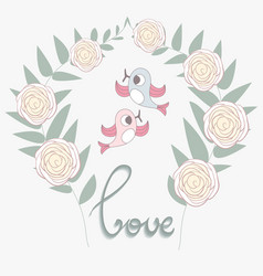 Wedding banner with birds vector