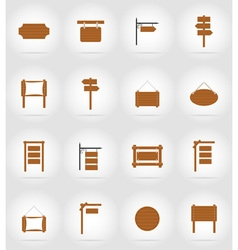Wooden board flat icons 17 vector