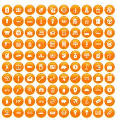 100 economy icons set orange vector