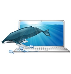 Whale under the sea on computer screen vector