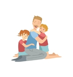 Dad Hugging His Son And Daughter vector image