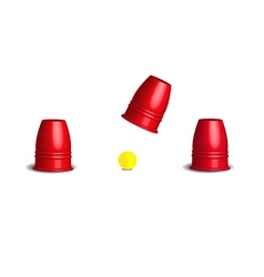 Magic cup games with three stainless red cups vector