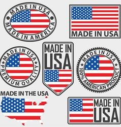 Made in usa label set with flag vector