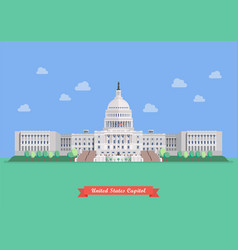 United states capitol in flat style design vector