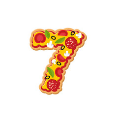 Number 7 pizza font italian meal alphabet numeral vector