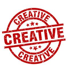 Creative round red grunge stamp vector
