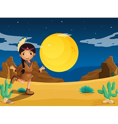 A young Indian girl at the desert vector image