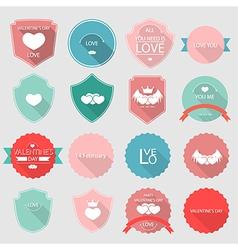 valentine set of retro vintage badges and labels vector image
